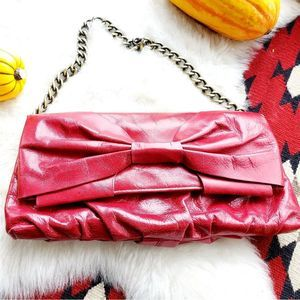 Hobo International Red Leather Bow Purse w Chain